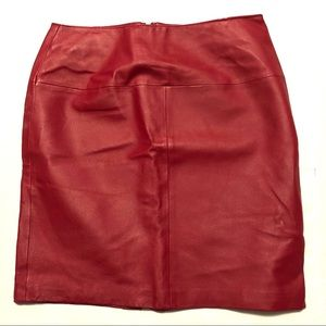 Newport News Genuine Leather Pencil Skirt Red 10
